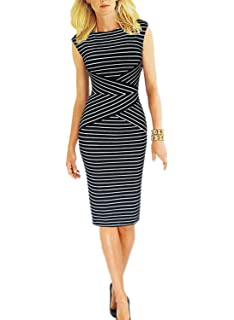 Viwenni Womens Summer Striped Sleeveless Wear to Work Casual Party Pencil Dress
