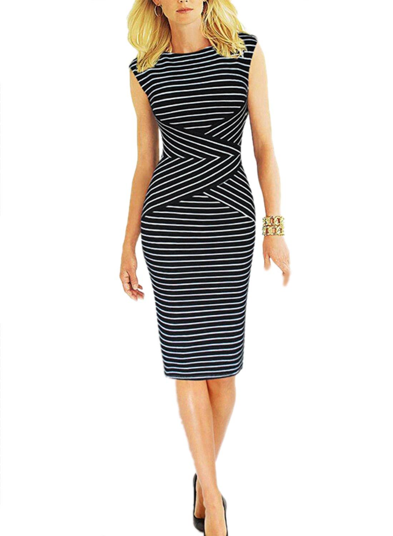 Viwenni Women's Summer Striped Sleeveless Wear to Work Casual Party Pencil Dress, XXL