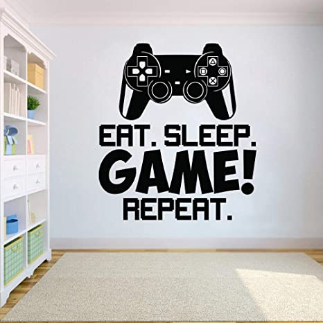 Video Game Controller wall sticker comer dormir juego repetir Wall Decal Wall Art Boys Room Decor