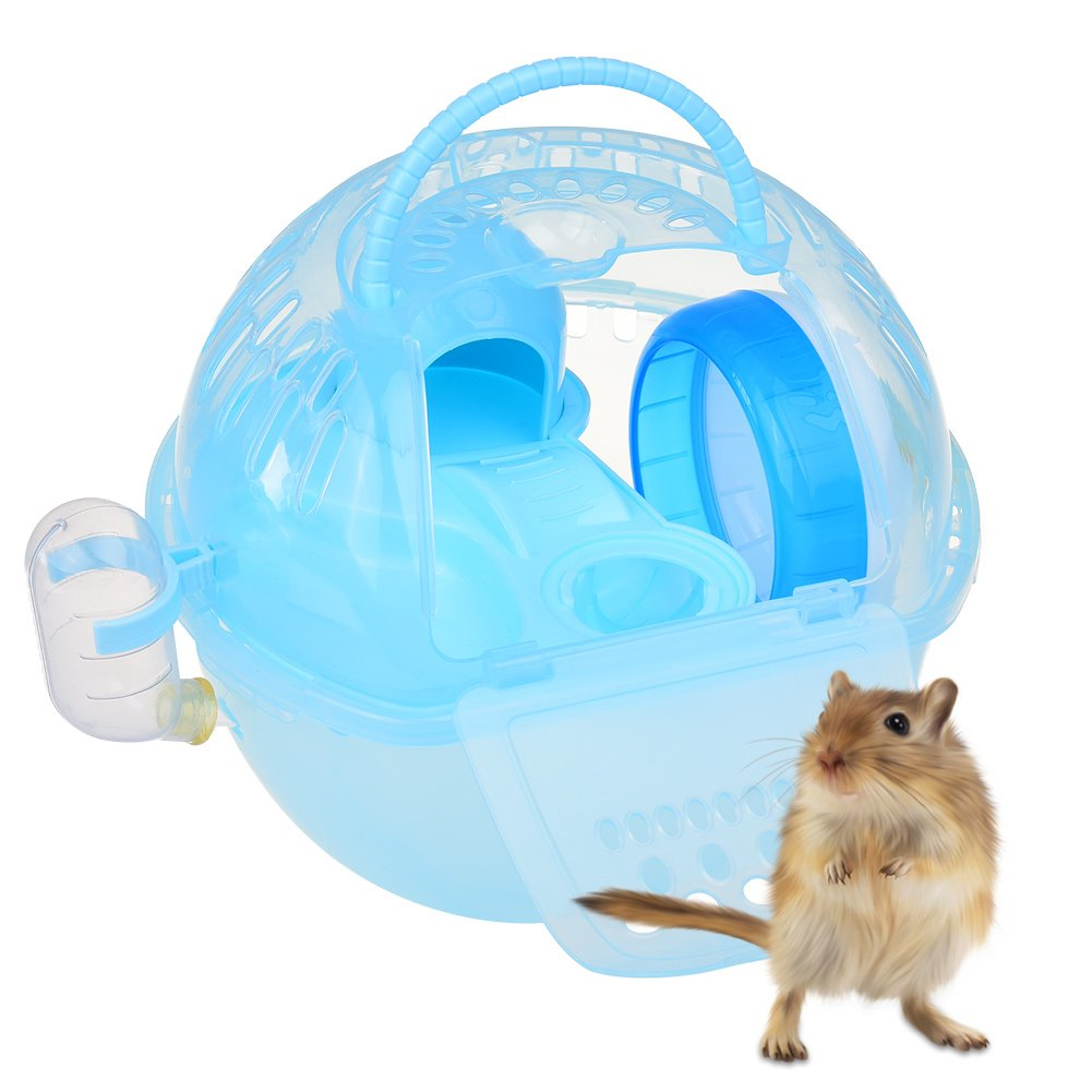 Petacc Portable Hamster Voyage Transporteur Pratique En Plastique Hamster Cage Durable Hamster Vivant Habitat Maison avec Slide Design et réservoir d'alimentation, Convient pour Hamster (vert)