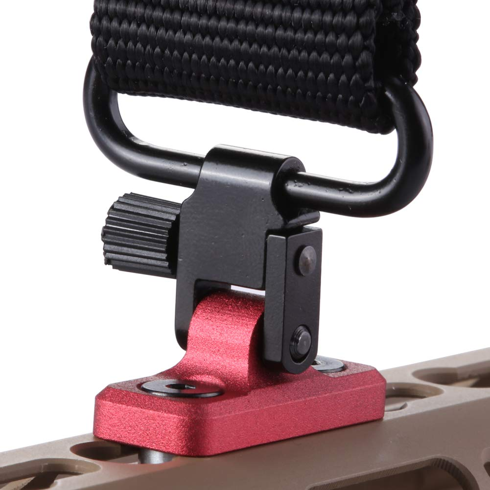TuFok Keymod Rifle Sling Mount Sling Adapter - Gun Sling Attachment for Keymod System, fit Uncle Mikes Style Sling Swivel, Low Profile Design,Aluminum (RED) by TuFok