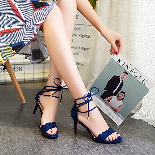 Sandalias Femeninos Xiaoqi Verano De Y Altos Tacones Europeo Nueva Hembra Americano Fina Abiertas Azul Cruzadas Correas Con qA6At
