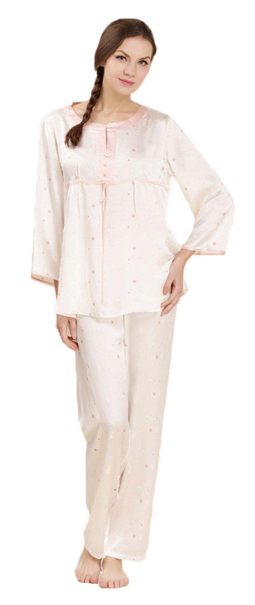 Women's Pure Mulberry Silk Pajama Set 3/4 Sleeve Crew Neck Classic Sleepwear fen XXL