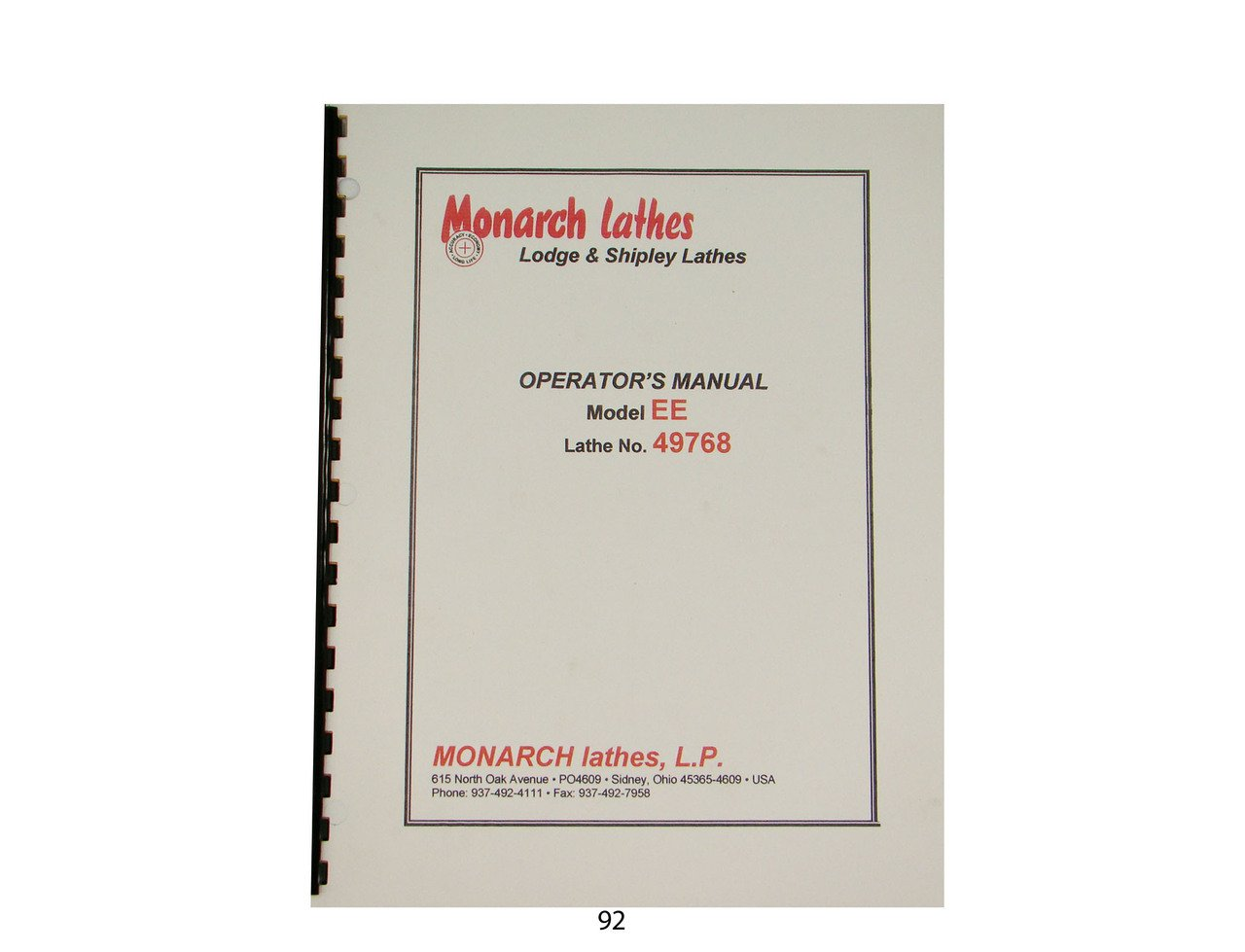 Monarch Lathe Operator Manual Mod. EE No. 49768: Monarch: Amazon.com on