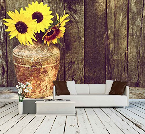 High Contrast Vintage Image of a Rustic Vase with Beautiful Sunflowers