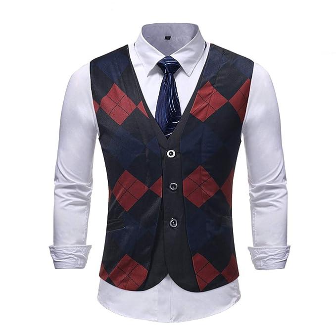 6c7fb09e5546 BoBoLily Suit Vest Men's Fake Two Piece Business Wedding Leisure Plaid  Pattern with 3 Button Blazer Slim Fit Lightweight Waistcoat Vest:  Amazon.co.uk: ...