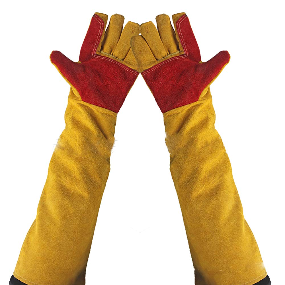 Leather Welding Gloves 23.6'' Extra Long Sleeves, Cut-Proof Labor Gloves, Thicken Extreme Heat Resistant Working Protect Gloves, Fireplace/Gardening Gloves DHST15