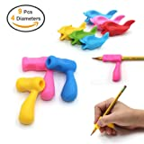 Firesara Pencil Grips Silicone Ergonomic Writing Claw Aid Dolphin and Handle Style Easygraph Pencils Training Grip Holder for Right Handed Kids Students Adults the Aged Disabled Hands 9pcs