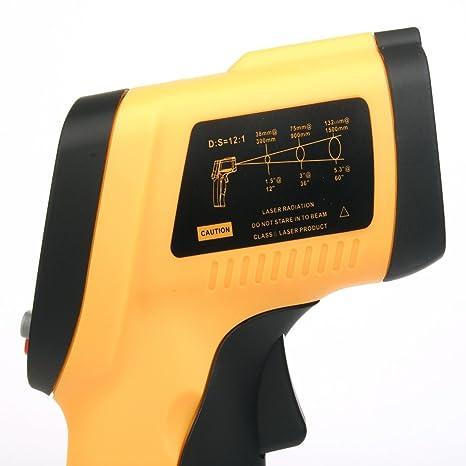 Xcsource TE033- Termómetro digital portátil, sin contacto, funciona con infrarrojos