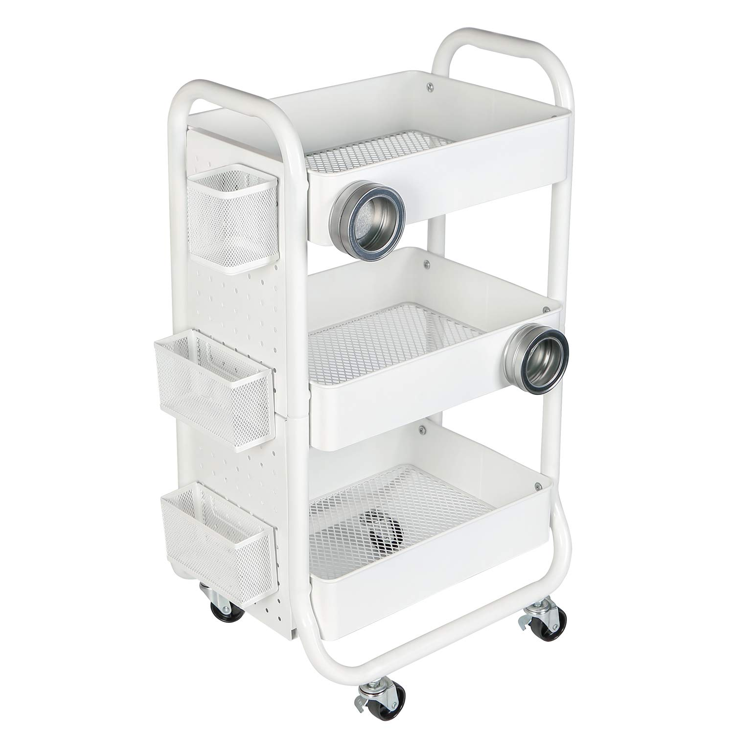 3-tier metal Rolling Storage carrello multiuso con manico White. DESIGNA