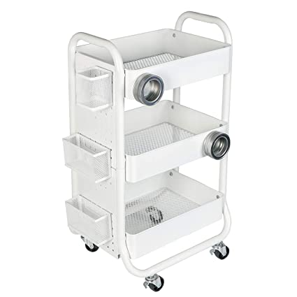 DESIGNA 3 Tier Metal Rolling Storage Cart With Utility Handle And Extra  Storage Accessories,