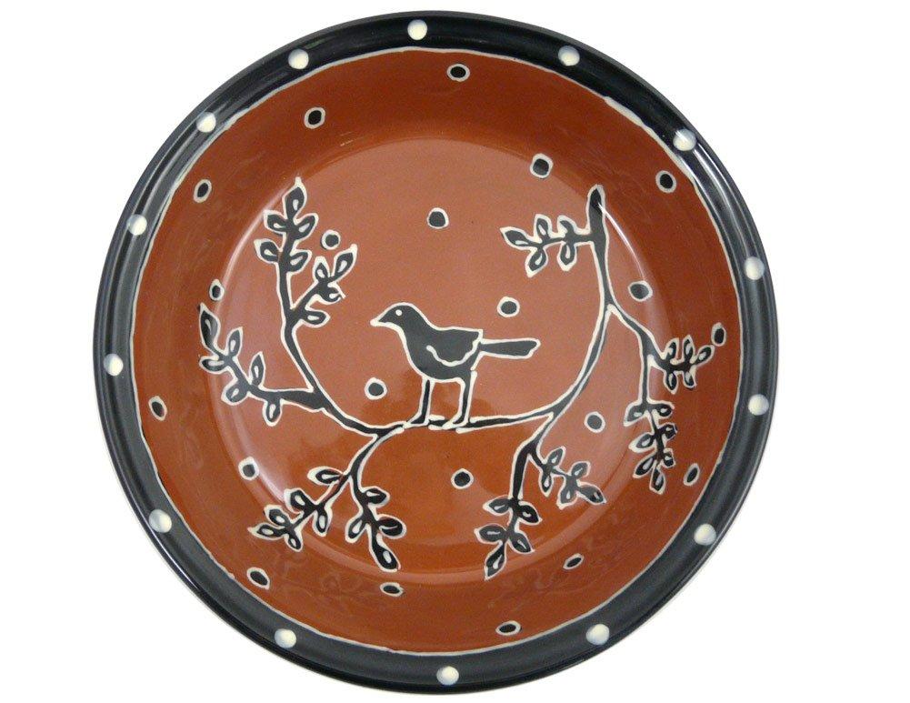American Made Terra-cotta Pottery Deep Dish Pie Plate, 9.5-inch, Blackbird Motif