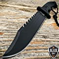 "New 13"" BLACK TACTICAL SURVIVAL Rambo Hunting FIXED BLADE iCareYou Knife Army Bowie w/ SHEATH"