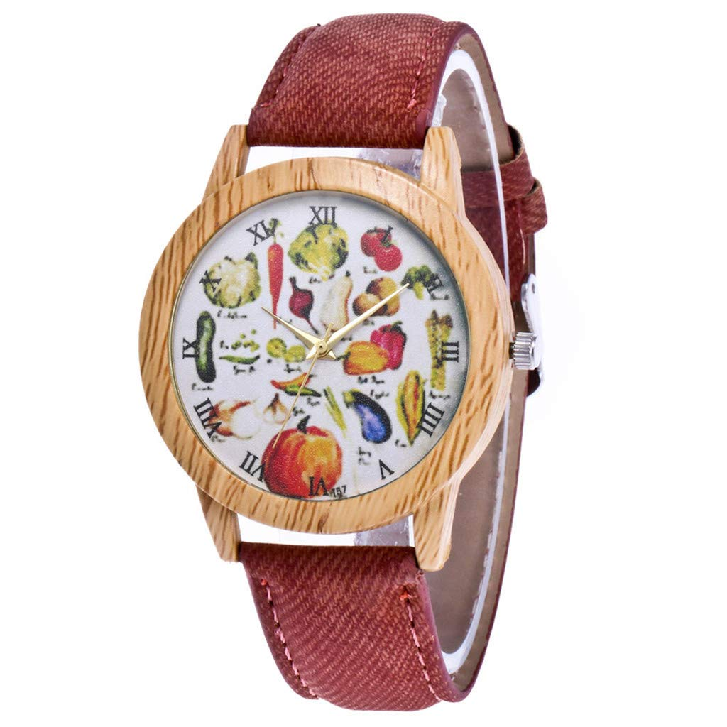 Gold Watch,Women's Fashion Casual Leather Strap Analog Quartz Round Watch,Coffee