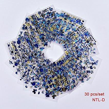 ZHUJING Pegatinas De Uñas 30 hojas de calcomanías azules doradas ...