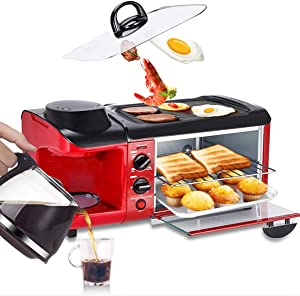 WLP Multifuntion 3 in 1 Breakfast Maker Bread Toaster Meat Baking Grill/Fried Egg/Coffee Roaster Electric Oven for Household