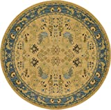 Cheap Heritage Collection Persian Traditional Area Rug Blue, Tan – 8′ FT Round FT High Class Living Dinning Room & Bedroom Rugs, Oriental Floor and Carpets