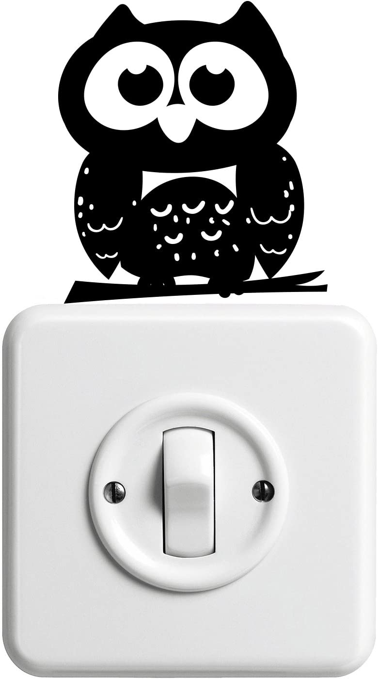 "Vinyl Wall Art Decal - Little Owl - 4"" x 3.5"" - Cute Animal Decor for Light Switch Window Mirror Luggage Car Bumper Laptop Computer Peel and Stick Skin Sticker Designs"