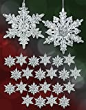 BANBERRY DESIGNS Acrylic Iridescent Snowflake Christmas Ornaments - Set of 24 Assorted Styles of Snowflakes - Clear Acrylic with Glitter - Winter Snowflake Decorations