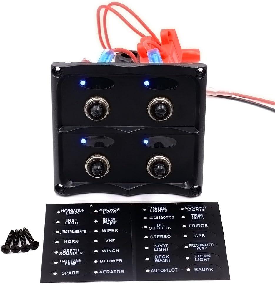 Andux Interruptor Panel Azul LED Impermeable de para Truck /& de Barco el/éctrico Marine