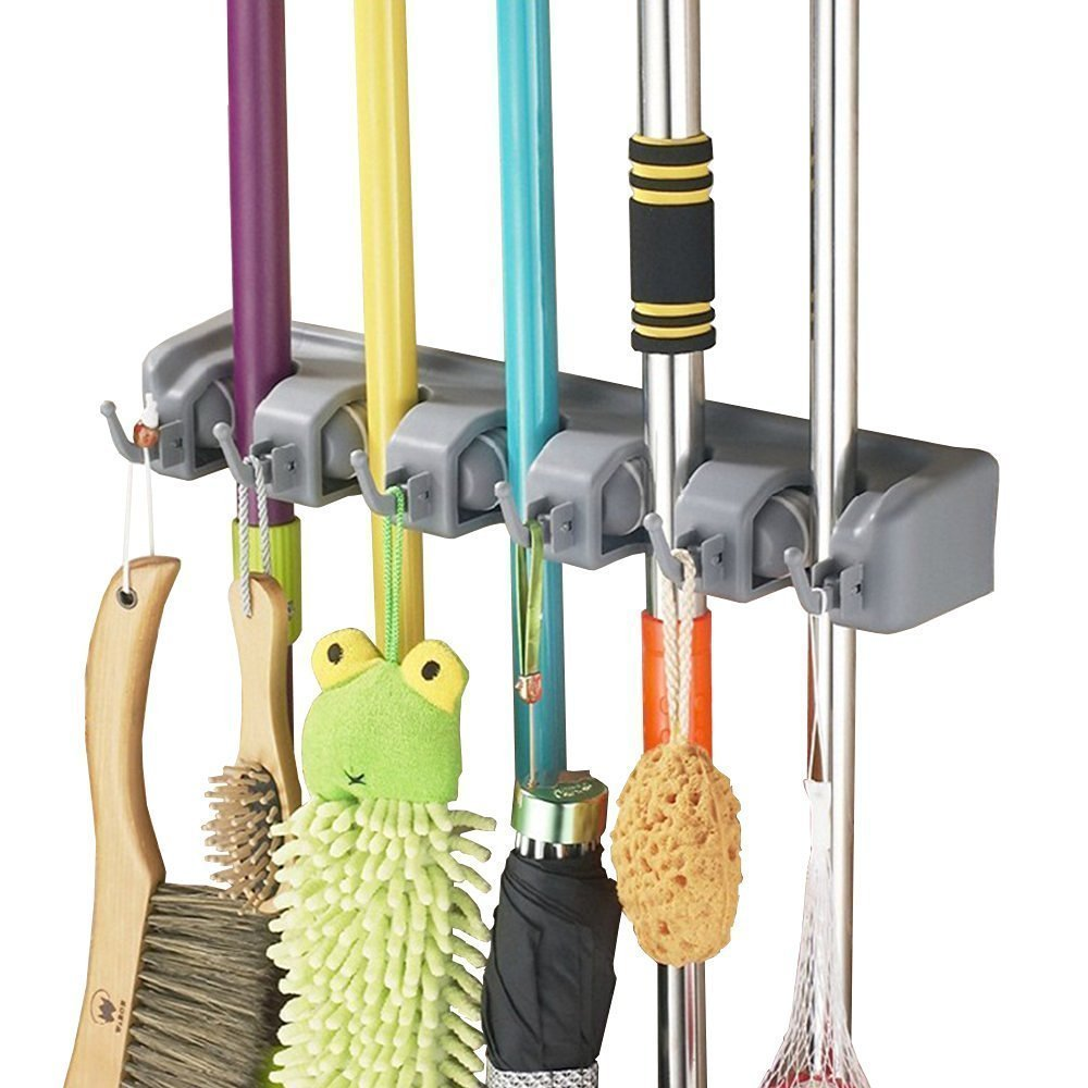 Broom Holder Wall Mounted 5 Position with 6 Hooks Mop Hanger Garden Tool Rack Garage Storage Kitchen Tool Organizer Flee