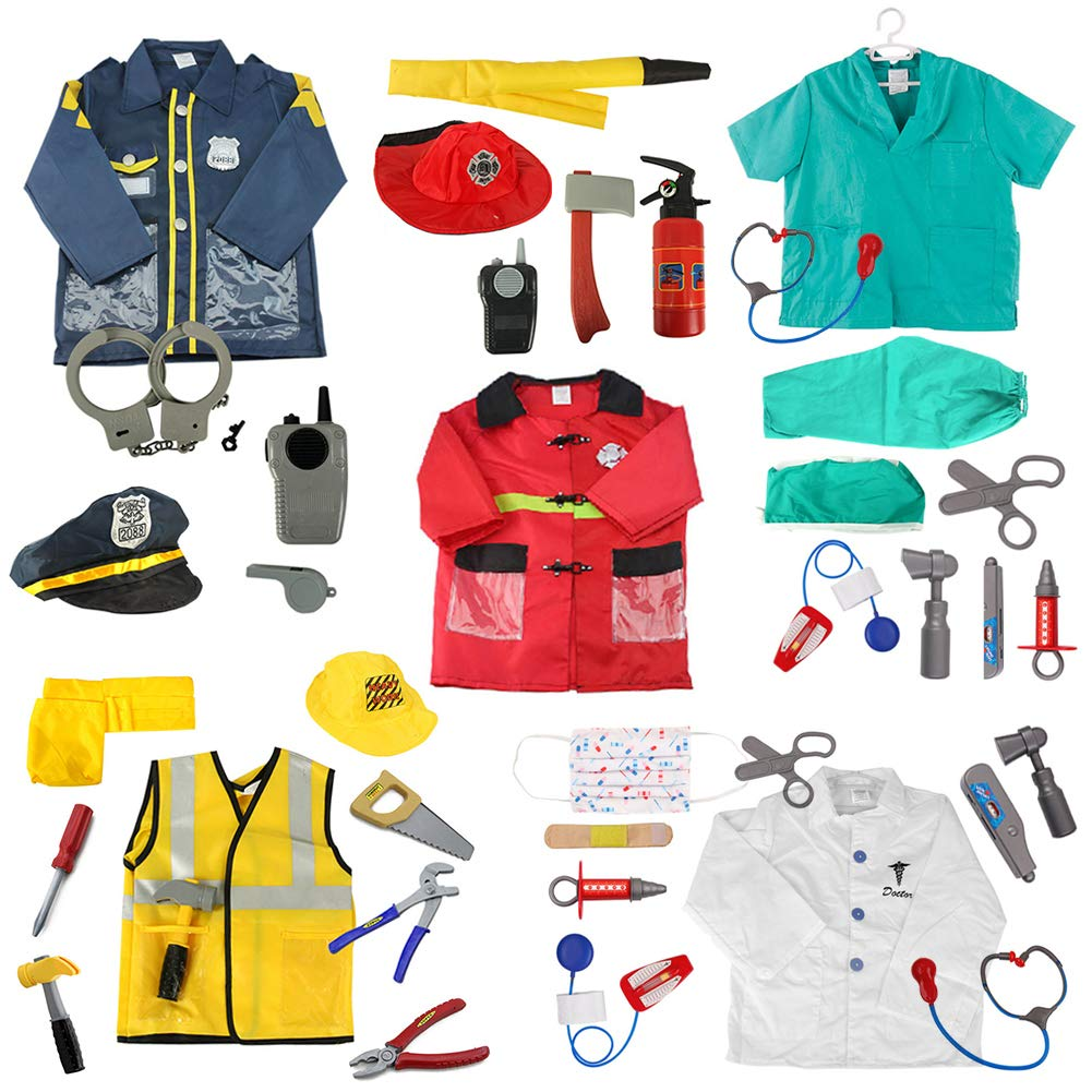 TOPTIE 5 Sets Role Play Costume for Kids Doctor Surgeon Policeman Fire Chief Engineer w/Accessories Blue by TOPTIE (Image #1)