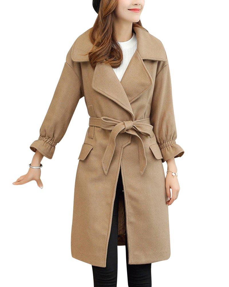 Mujer Solapa De La Rebeca De La Chaqueta Y Abrigo De La Sección Larga Abrigo De Lana