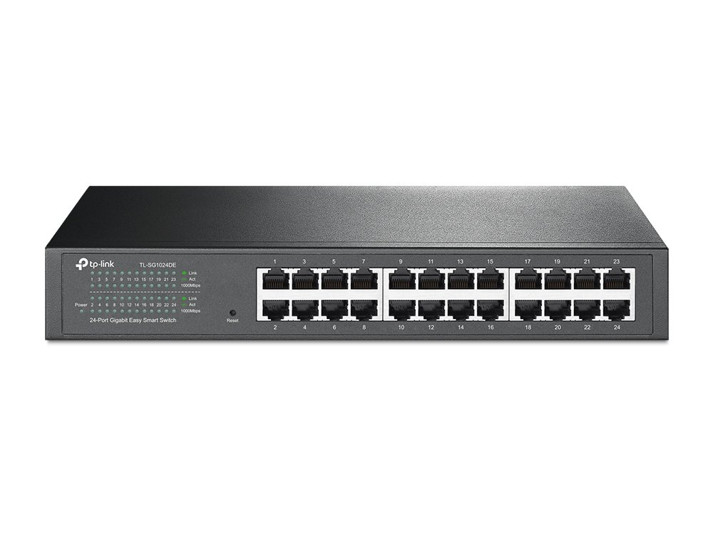 TP-Link 24-Port Gigabit Ethernet Easy Smart Managed Switch | Unmanaged Plus | Plug and Play | Desktop/Rackmount | Metal | Fanless | Limited Lifetime (TL-SG1024DE)