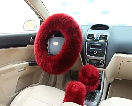 4 PCS Car Plush Comfortable Soft Stretch On Steering Wheel Cover