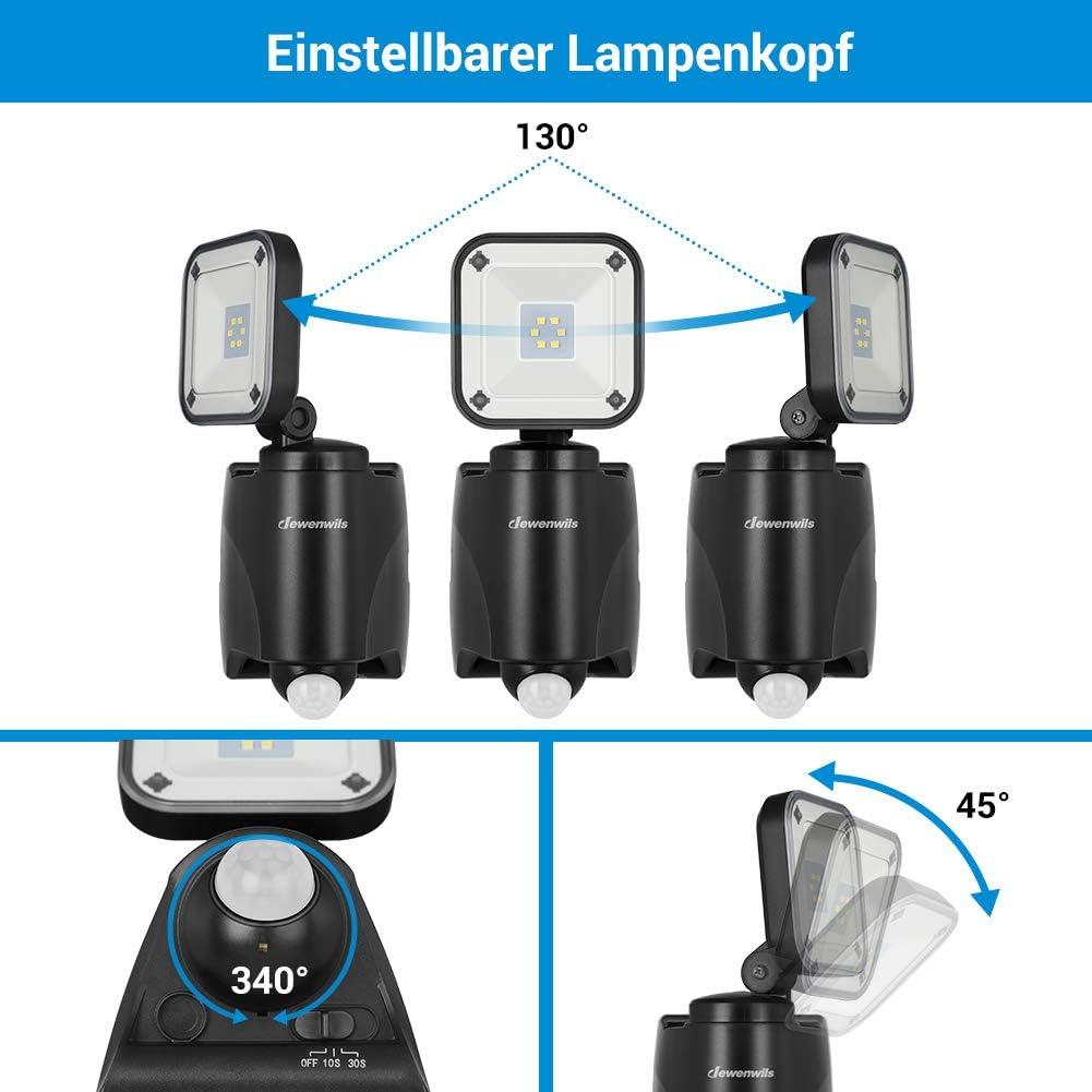 IP44 wasserdicht,Garage 6000K Sportplatz DEWENWILS Batterie LED Strahler mit Bewegungsmelder Au/ßen 300LM Kabelloser Batteriebetriebener Au/ßenstrahler