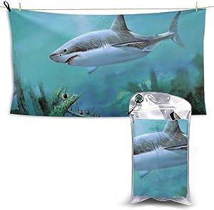 Beach Towels, Big Shark Quick Dry Towel Blanket, 27.5'' X 51'' Sand Free Towels Absorbent for Bath, Travel, Spa, Swim