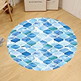 Gzhihine Custom round floor mat Moroccan Oriental Arabic Mosaic Pattern in Watercolor Paint Retro Style Islamic Artwork Bedroom Living Room Dorm Light Blue