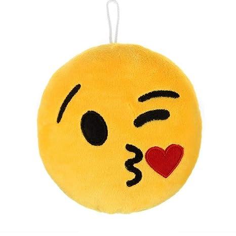 TOSSPER Cojín Redondo Suave Felpa Emoji Sonriente del ...