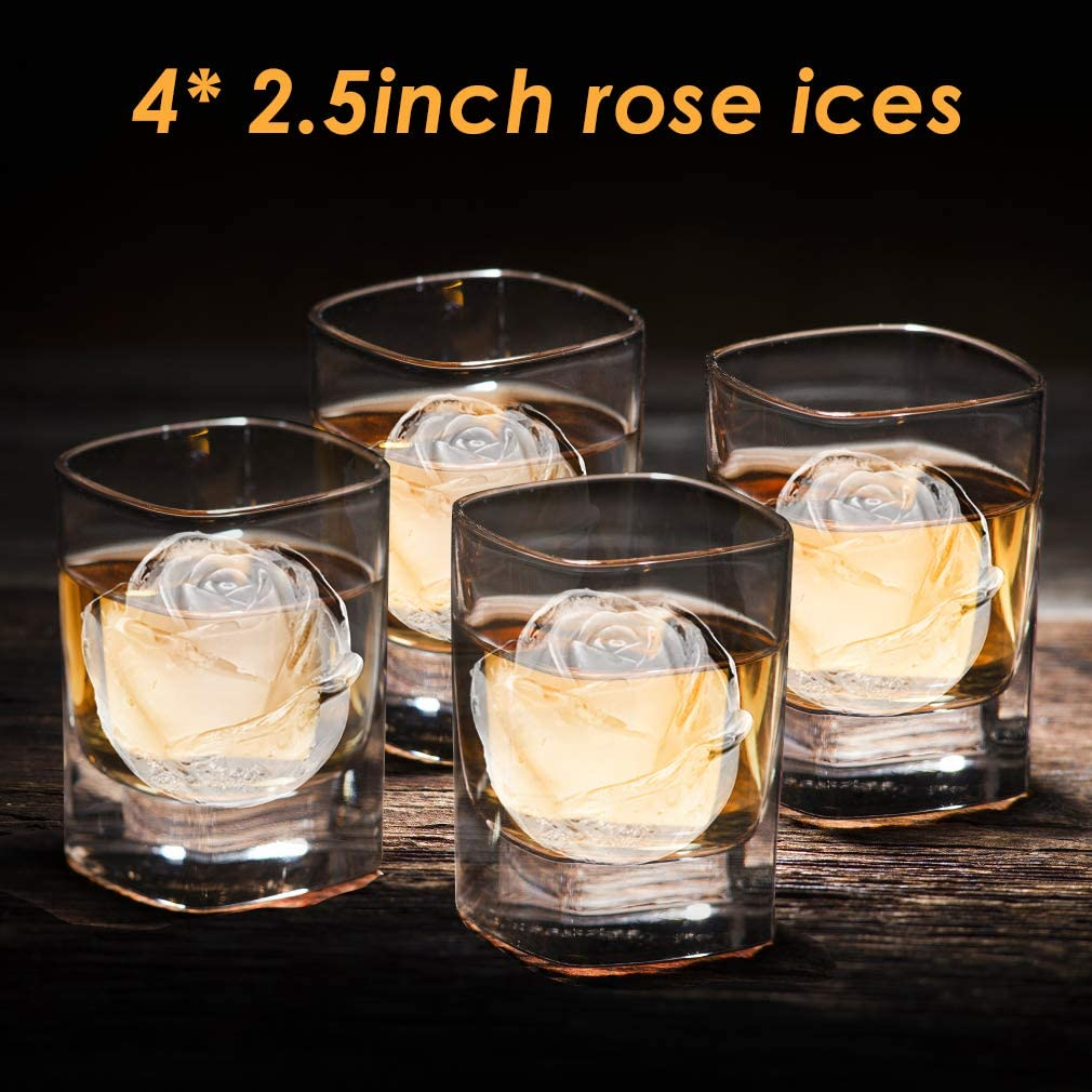 4 Cavity Silicone Rose Ice Ball Maker Whiskey TINANA 2.5inch Rose Ice Cube Trays Easy Release Large Ice Cube Form for Chilling Cocktails Ice Cube Tray Bourbon /& Homemade Juice