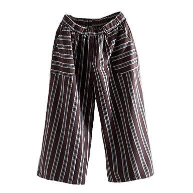 Pantalon Coton Lin Femme Capris Pantalon Rayures Vintage Boho Ceinture  Elastique Chic SANFASHION(café f39baf69af7