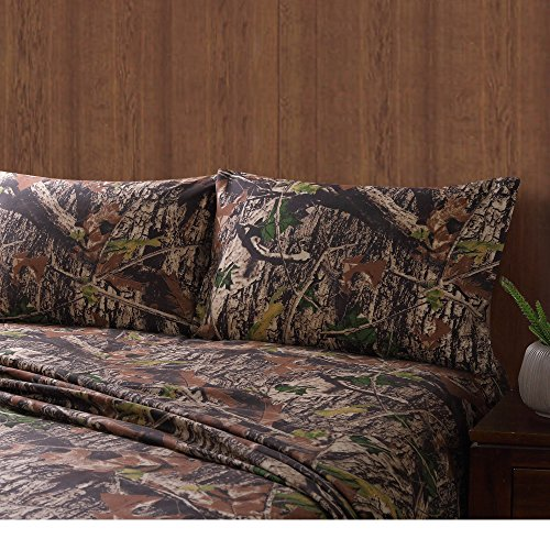 4 Piece Mossy Oak Camo Sheet Set Queen, Camouflage Themed Bedding, Wilderness Game Forest Nature Trees Fall Leaves, Rustic Cabin Mountains Lodge Country Hunting Pattern, Outdoor Hunter Green Brown - Oak Queen Bed Set