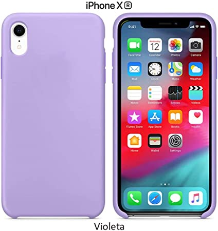 Image ofFunda Silicona para iPhone XR Silicone Case, Calidad, Textura Suave, Forro Interno Microfibra (Violeta)
