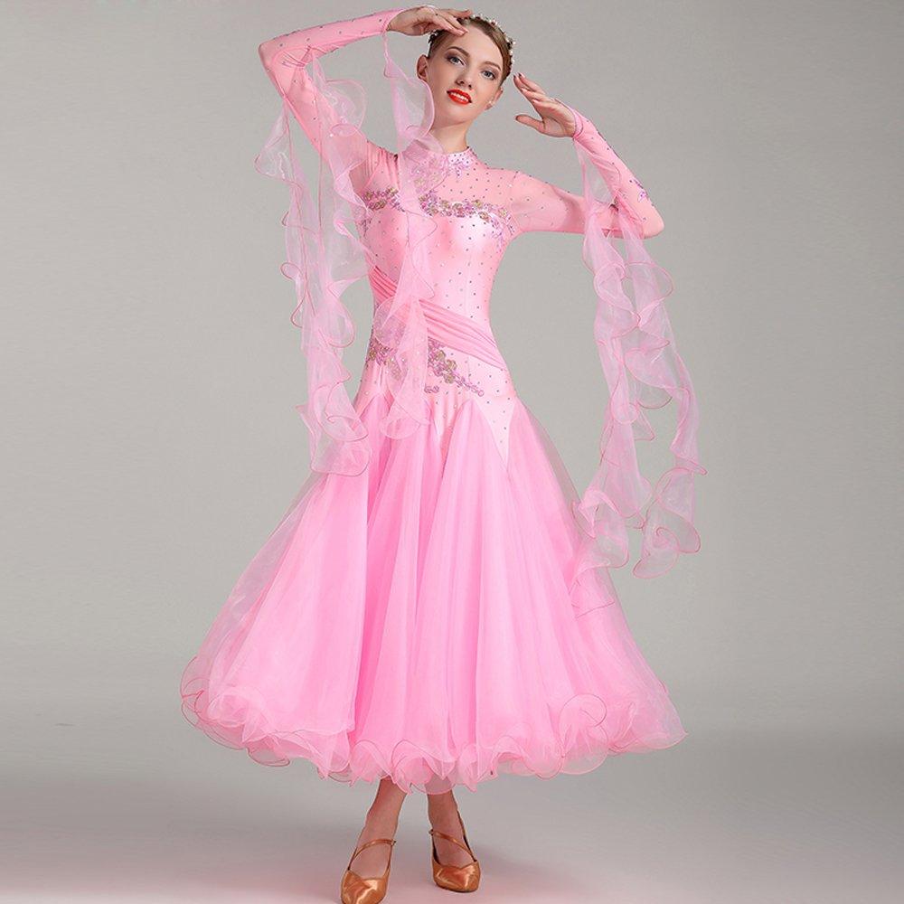 ファッションの 現代の女性の大きな振り子の手刺繍タンゴとワルツダンスドレスダンスコンペティションスカート長袖ラインストーンダンスコスチューム B07HHXJ7YB XL|Pink XL|Pink XL Pink B07HHXJ7YB XL, ゴールドエコ:eb73c73a --- a0267596.xsph.ru