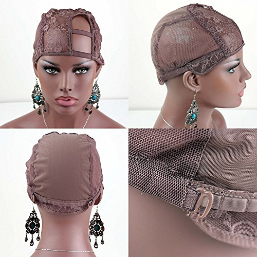 Dreambeauty Brown Color Wig Cap Full Cap and U Part Wig Cap for Making Wigs(Left U part cap)