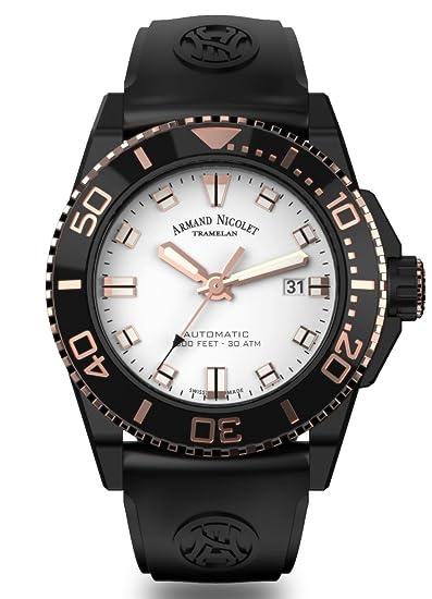 Reloj Automático Diver Armand Nicolet JS9 DLC Tono Oro Rosa Plata Negro A480AQS-AS-GG4710N: Amazon.es: Relojes