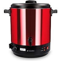 Navaris stérilisateur à bocaux électrique - Machine à vin chaud autocuiseur minuteur - Marmite 27L distributeur boissons inox - Rouge métallique
