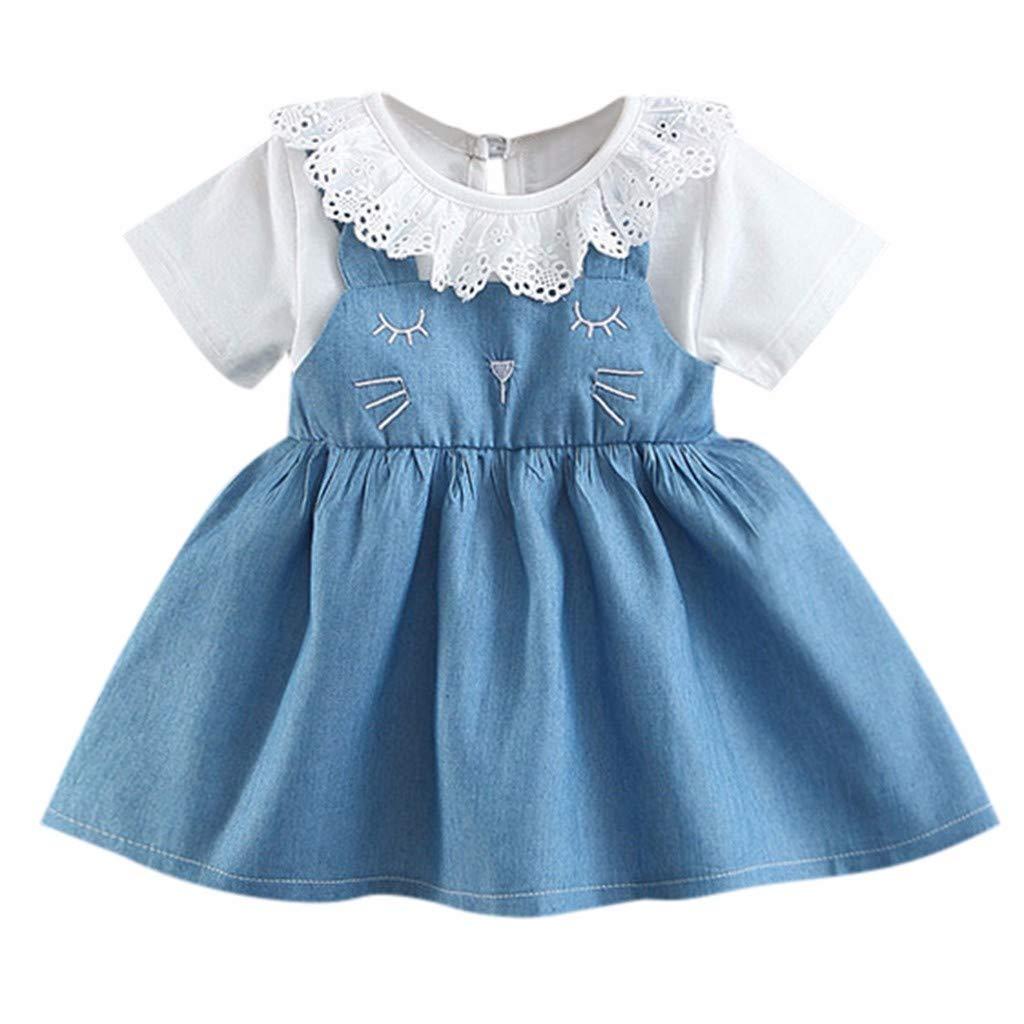RAINED-Little Girls Princess Dress Print Short-Sleeve Dresses /& One-Piece Tutu Skirts Girls Denim Mini Dress