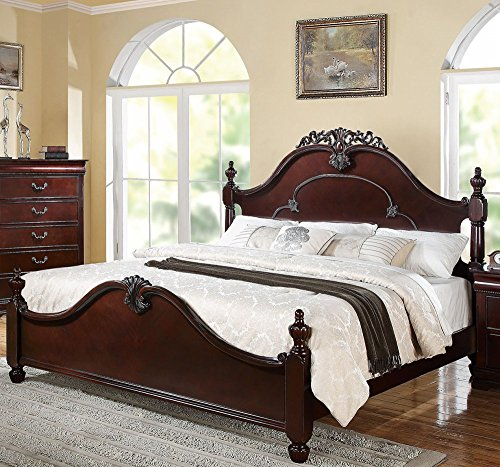 1PerfectChoice GWYNETH TRADITIONAL CHERRY KING POSTER BED (Poster Size King Oak Bed)