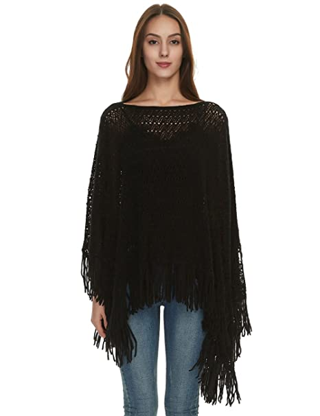 Ferand Crochet Knit Fringe Poncho Shawl Wrap Casual Boat Neck Tops