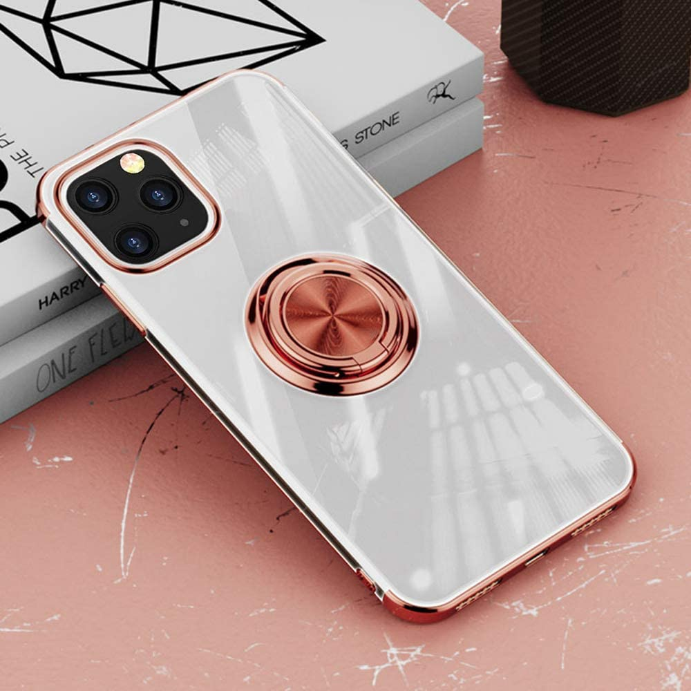 Yxiuexur Compatible with iPhone 12 Pro Case, Slim Clear TPU Plating Cover 360 Rotatable Ring Holder Kickstand Support Car Mount Shockproof Protective Phone Case for iPhone 12 Pro 6.1 Inch (Rose Gold)