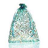 HOUSWEETY 25PCs 17cmx23cm Skyblue Flower Organza Gift Bags Wedding/Christmas Favor