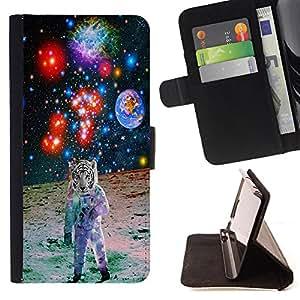 King Art - Premium-PU-Leder-Prima caja de la PU billetera de cuero con ranuras para tarjetas, efectivo Compartimiento desmontable y correa para la mu?eca FOR HTC One M7- White Tiger Smoke Space