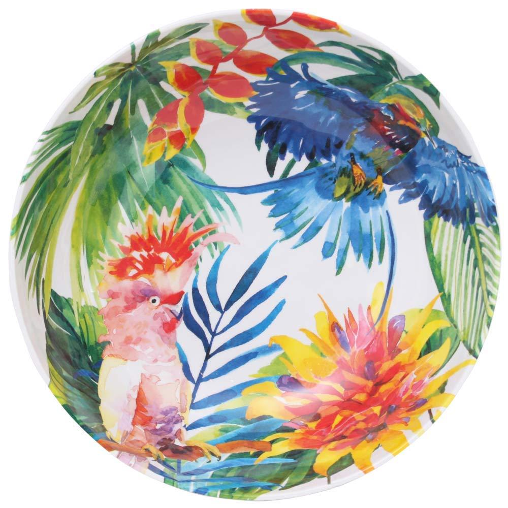 Bleu et Vert Motifs Oiseaux et Perroquets Tropicaux /∅ 31 cm Les Jardins de la Comtesse Service de Table Collection de Vaisselle MelARTmine Grand Saladier en M/élamine Pure incassable