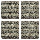 MSD Square Coasters Non-Slip Natural Rubber Desk Coasters design 25613021 Tattoo art skulls over old paper