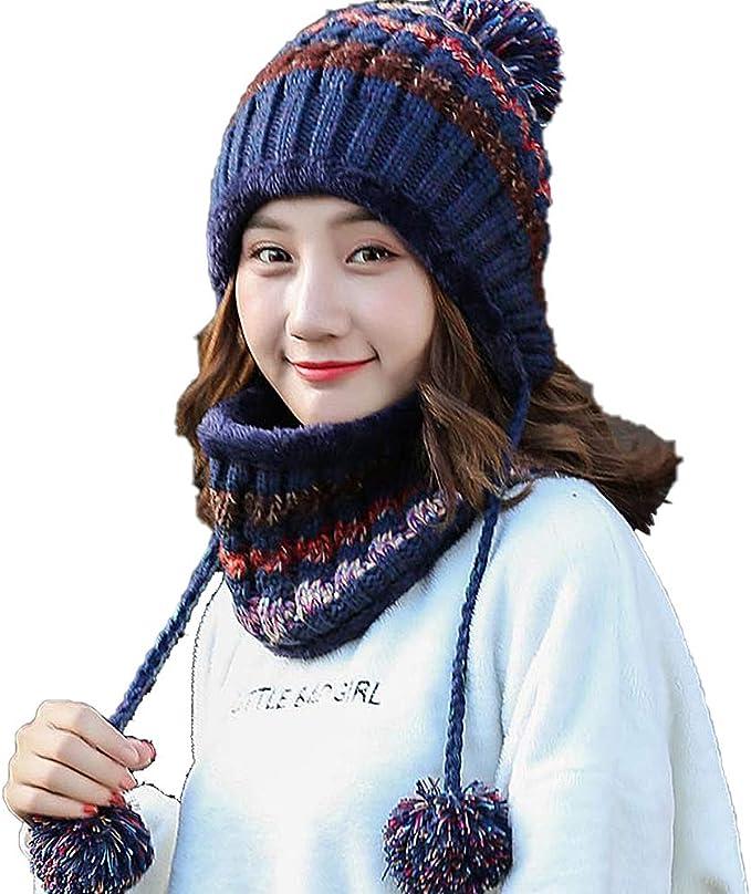 Luoistu Winter Hat Scarf Set Gorras Tejidas para Mujeres para ...